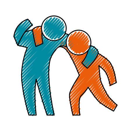 Persona que ayuda a alguien diseño gráfico del ejemplo del vector del icono Ilustración de vector