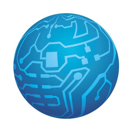 Microchip circuit sphere icon vector illustration graphic design