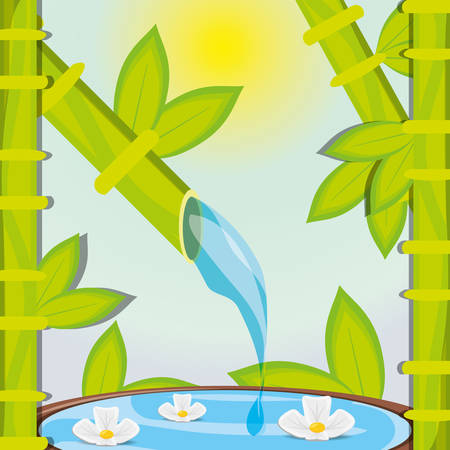 natural pool with flowers and bamboo vector illustration