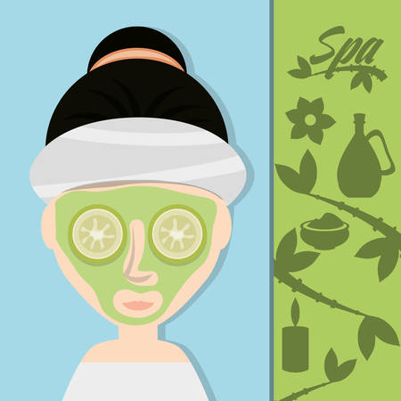 woman with cucumber mask and herbal medicine vector illustration
