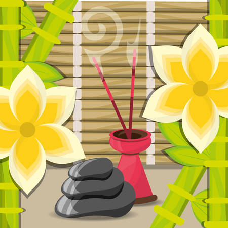 spa with aromatic candle with stones vector illustration
