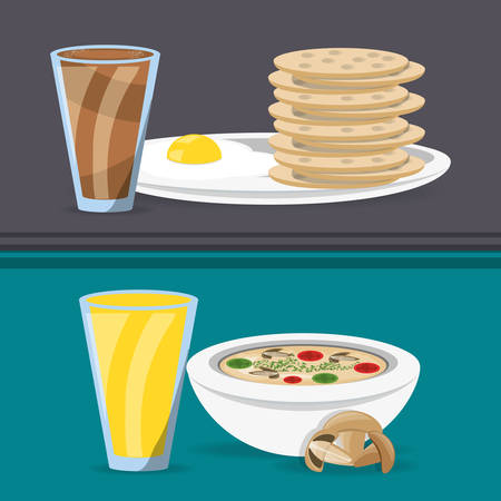 delicious breakfast and lunch menu restaurant vector illustration