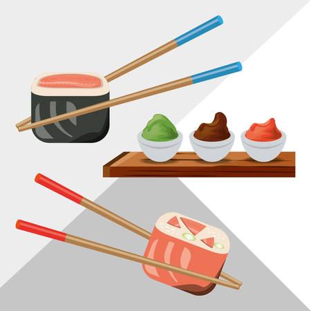 delicious sushi japanese dish menu restaurant vector illustration