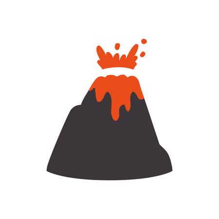 disaster: volcanic eruption with lava and rocks vector illustration