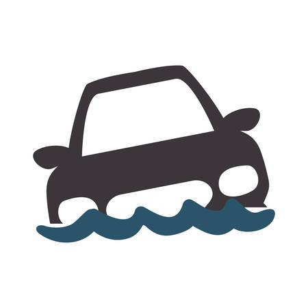 flooded car for danger weather vector illustration Illustration