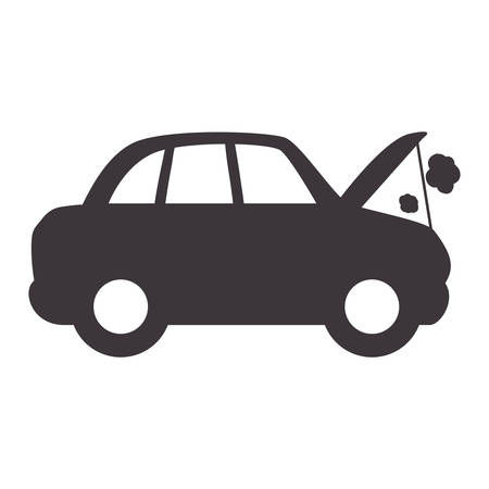 car burnt engine and dangerous diagnostic vector illustration