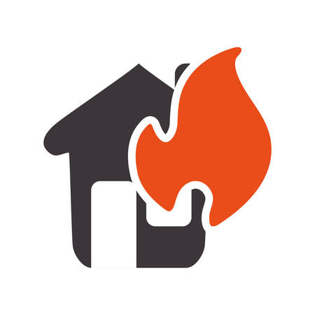 emergency house burnt and dangerous disaster vector illustration Illustration