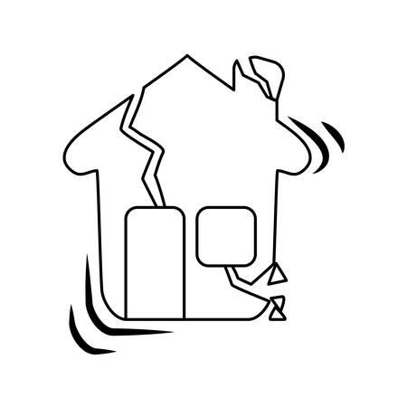 seismology: line house earthquake desaster and natural destrution vector illustration Illustration