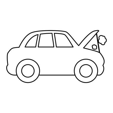 line car burnt engine and dangerous diagnostic vector illustration