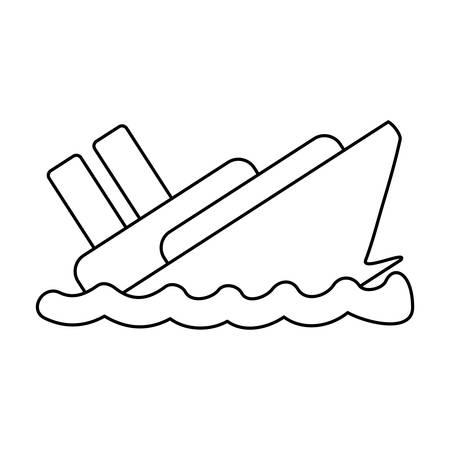 line emergency ship flood and natural disaster vector illustration Ilustração