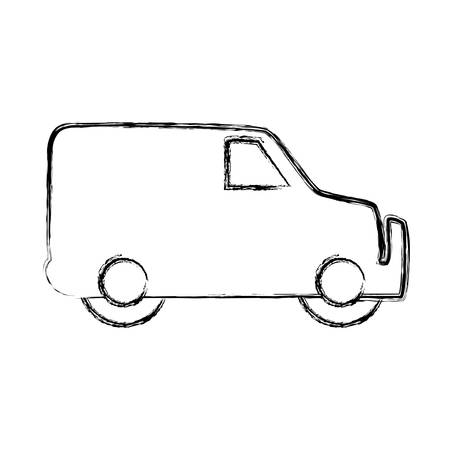 figure truck to transportation delivery and logistic service vector illustration