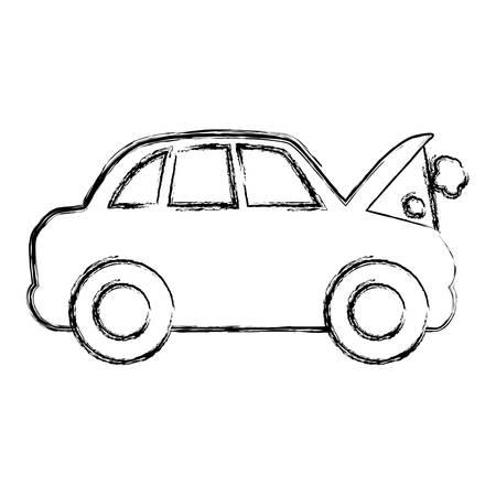 figure car burnt engine and dangerous diagnostic vector illustration Ilustrace