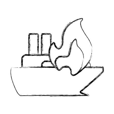 fiery: figure emergency ship burnt and danger disaster vector illustration
