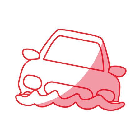 silhouette flooded car for danger weather vector illustration