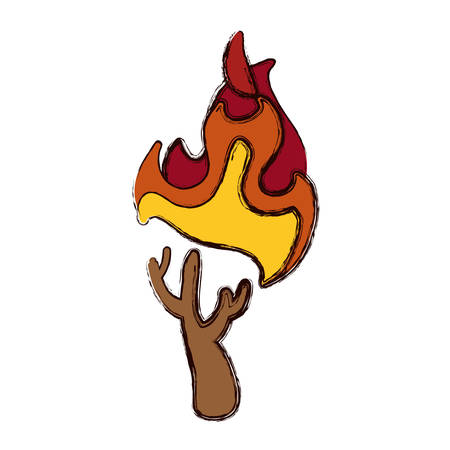raw materials: stick fire and natural warm vector illustration