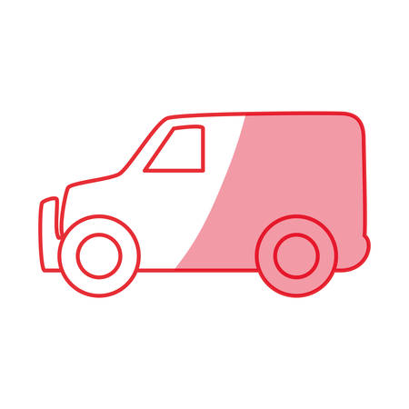 silhouette truck to transportation delivery and logistic service vector illustration