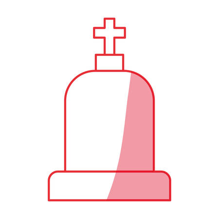 silhouette tombstone with cross and religion funeral vector illustration Illustration