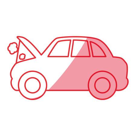 silhouette car burnt engine and dangerous diagnostic vector illustration Illustration