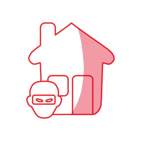 silhouette house with thief danger symbol vector illustration Illustration