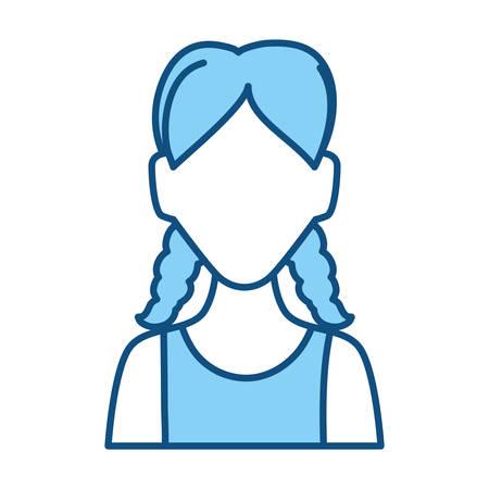 braided: Woman faceless avatar vector illustration graphic design