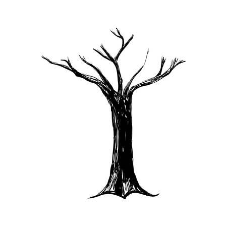 Silhouette de l'arbre sec icône illustration vectorielle design graphique Banque d'images - 79342242