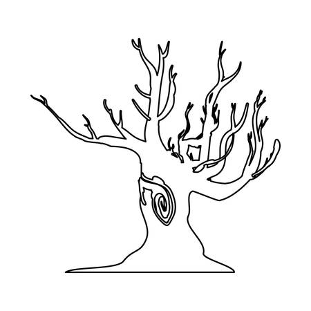 bareness: Dry tree silhouette icon vector illustration graphic design
