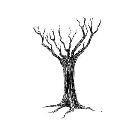 dead tree: Dry tree silhouette icon vector illustration graphic design