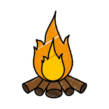 fiery: Bonfire icon over white background vector illustration