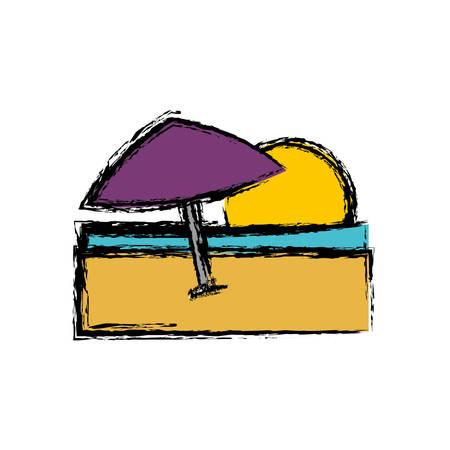 beach parasol icon over white background. vector illustration Illustration