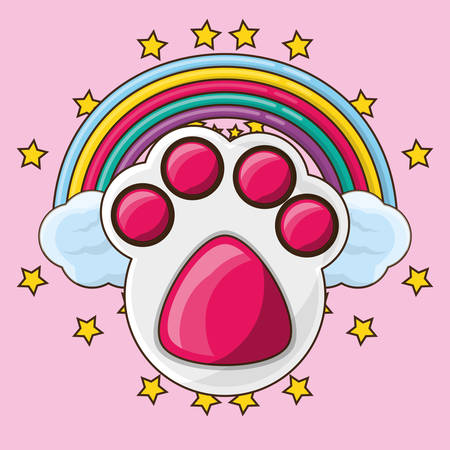 cute footprint with colorful rainbow vector illustration
