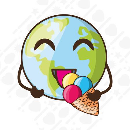 Adorable tierra comiendo helado ilustración vectorial Foto de archivo - 79491914