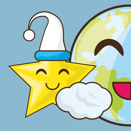 Adorable tierra y estrella con sombrero de dormir ilustración vectorial Foto de archivo - 79491925