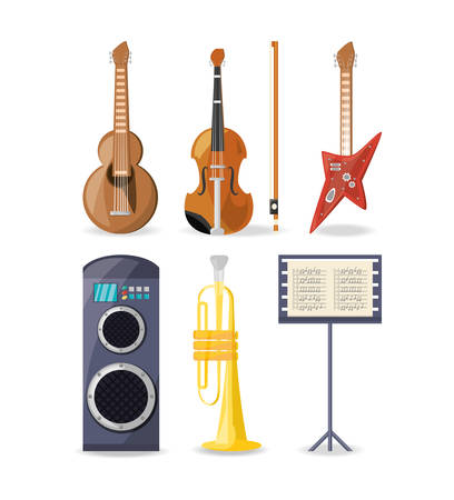 set icon music instruments amplifier and music sheet vector illustration Illustration