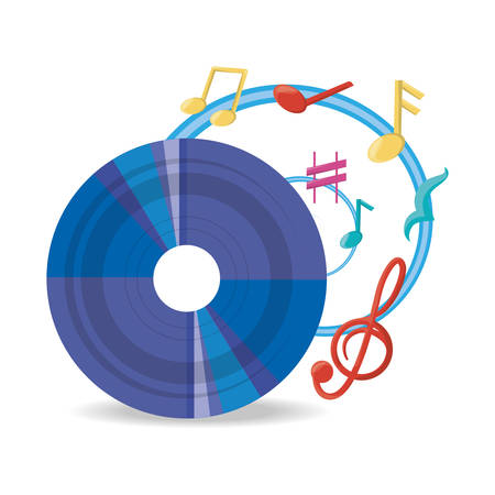 vinyl record with musical notes vector illustration Illustration