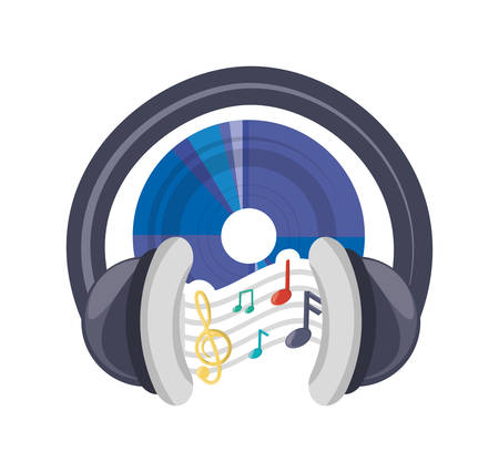cd musical notes and headphone concept vector illustration Illustration