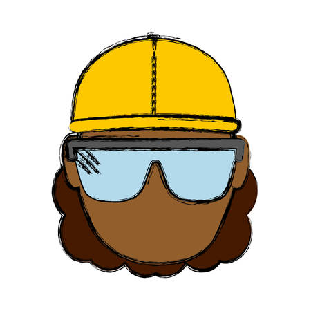 construction worker with safety goggles and helemt icon over white background colorful design vector illustration Illustration