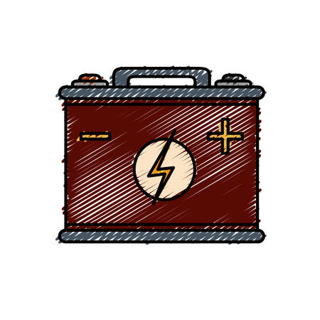 car battery icon over white background vector illustration
