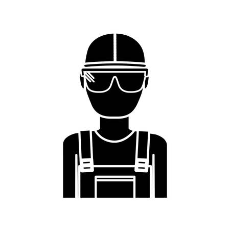 construction worker with safety goggles and helemt icon over white background vector illustration Illustration