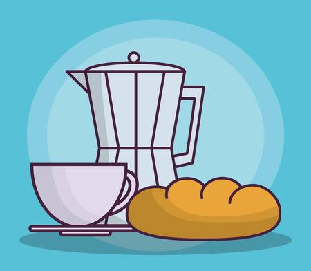bread maker: italian coffee maker, coffee mug and bread icon over blue background colorful design vector illustration Illustration