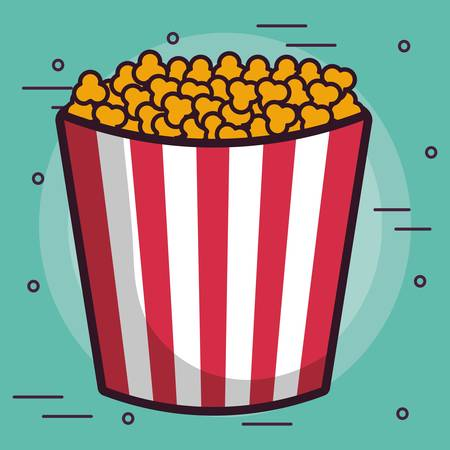 pop corn bucket icon over turquoise background colorful design vector illustration
