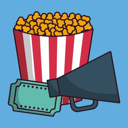 pop corn: pop corn bucket and cinema related icons over blue background colorful design vector illustration Illustration