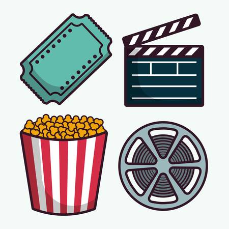 clapboard and cinema related icons over white background colorful design vector illustration