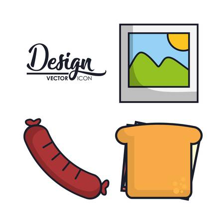 toasted: sandwich, sausage and picture icon over white background colorful design vector illustration