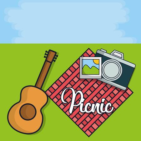 guitar and picnic related icons over landscape background colorful design vector illustration