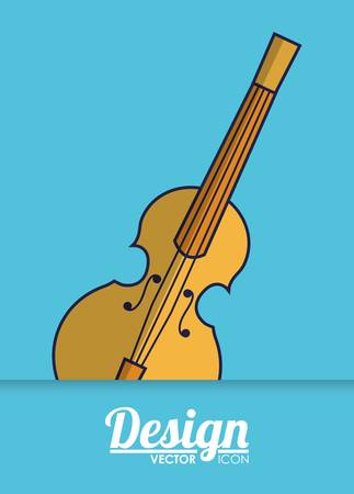 fiddle instrument icon over blue background colorful design vector illustration Illustration