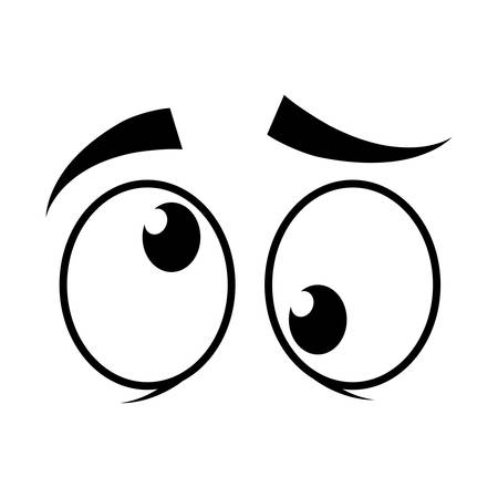 cartoon eyes icon over white background vector illustration