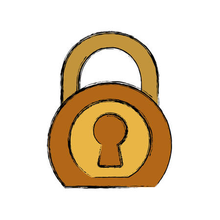 security padlock icon over white background colorful design vector illustration