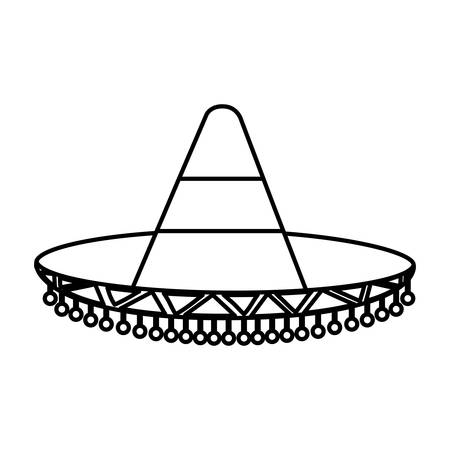traje mexicano: mexican hat icon over white background vector illustration