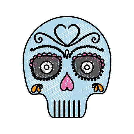 mexican skull icon over white background colorful design vector illustration Illustration