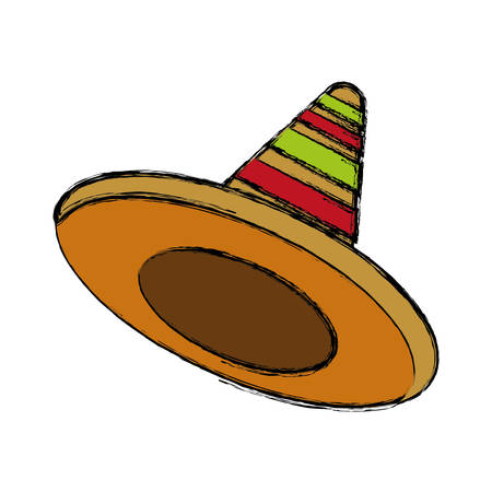 traje mexicano: mexican hat icon over white background colorful design vector illustration